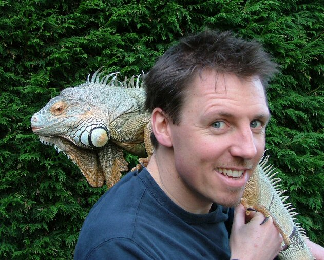 Jay with Ziggy, the Iguana